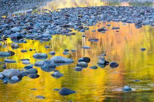Fall Colors Reflect in the Saco River, New Hampshire. White Mountains by Jerry & Marcy Monkman