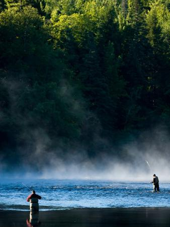 Fly-Fishing in Early Morning Mist on the Androscoggin River, Errol, New Hampshire, USA
