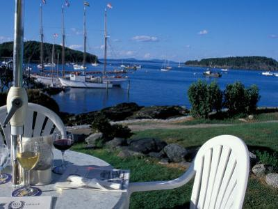 Restaurant at the Bar Harbor Inn and View of the Porcupine Islands, Maine, USA