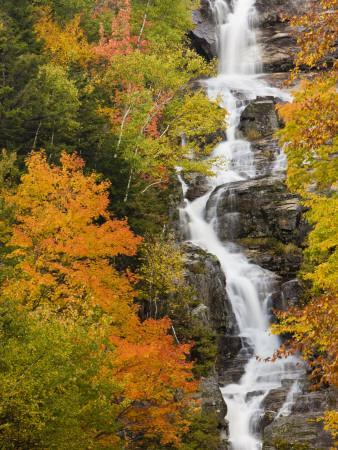 Silver Cascade Waterfall in White Mountains in Autumn, Crawford Notch State Park, New Hampshire