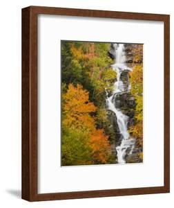 Silver Cascade Waterfall in White Mountains in Autumn, Crawford Notch State Park, New Hampshire by Jerry & Marcy Monkman