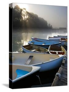 Skiffs and Morning Fog in Southwest Harbor, Maine, Usa by Jerry & Marcy Monkman
