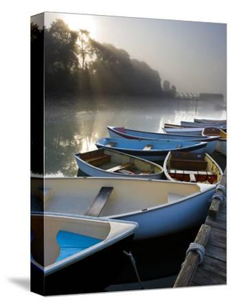Skiffs and Morning Fog in Southwest Harbor, Maine, Usa