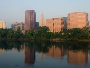 Skyline Reflection in the Connecticut River, Hartford, Connecticut by Jerry & Marcy Monkman