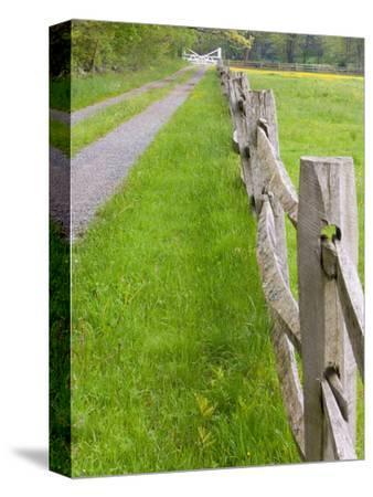Split Rail Fence and Farm Road, Essex County, Ipswich, Massachusetts, USA