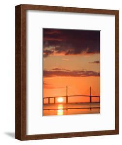 Sunrise Behind Sunshine Skyway Bridge, Florida, USA by Jerry & Marcy Monkman