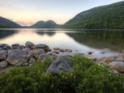The Bubbles and Jordan Pond in Acadia National Park, Maine, USA