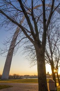 The Gateway Arch in St. Louis, Missouri at Sunrise. Jefferson Memorial by Jerry & Marcy Monkman