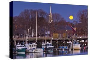 The Moon Sets Behind the Fishing Pier in Portsmouth, New Hampshire by Jerry & Marcy Monkman
