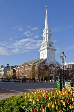 Tulips and North Church in Market Square. Portsmouth, New Hampshire