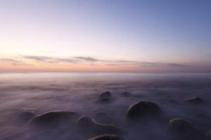 Waves Wash over the Rocks at Rye Harbor SP in Rye, New Hampshire by Jerry & Marcy Monkman