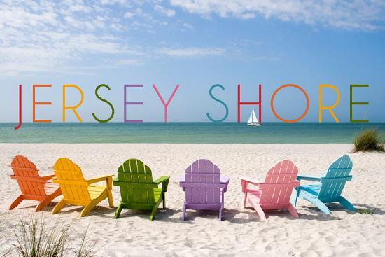 Jersey Shore - Colorful Chairs-Lantern Press-Wall Mural