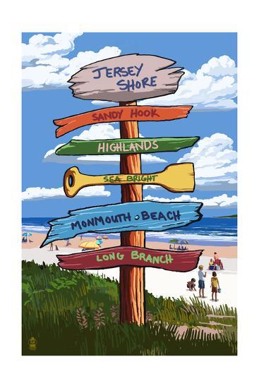 Jersey Shore - Signpost Destinations-Lantern Press-Art Print