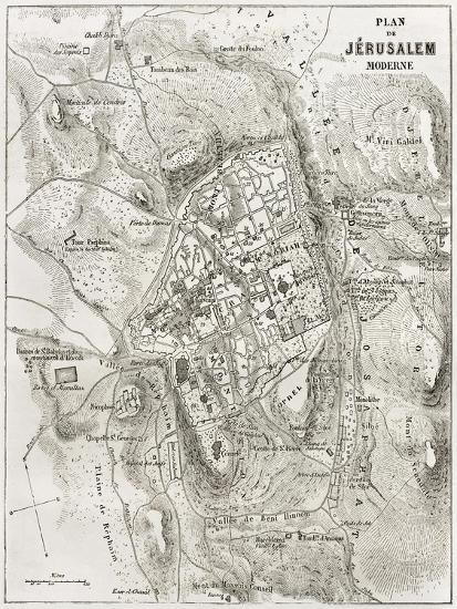 Jerusalem Old Map-marzolino-Art Print