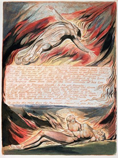 Jerusalem the Emanation of Giant Albion, The Divine Hand Found the Two Limits, Satan and Adam, 1804-William Blake-Giclee Print