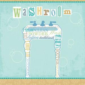 Bathroom Words Sink II Square by Jess Aiken