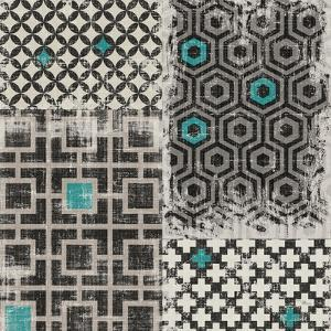 Geometric Patchwork Peacock Blue Square II by Jess Aiken