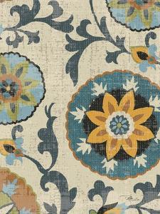 Persian Patchwork Blue Brown Tile I by Jess Aiken