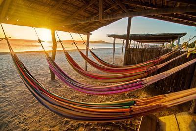 Hammocks on a Beach at Sunset.