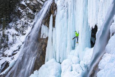 Jess Roskelley Climbing Flowing Waterfalls At The Junkyard, Ice Climbing Crag Near Canmore, Alberta-Ben Herndon-Photographic Print