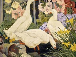 White Ducks and Hollyhocks by Jesse Arms Botke