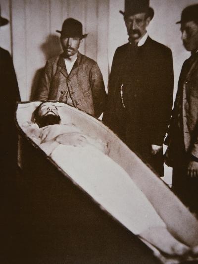 Jesse James in His Coffin after Being Shot Dead in 1882-American Photographer-Giclee Print