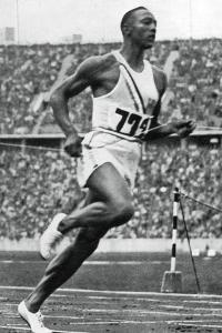 Jesse Owens at the End of the 100M at the Berlin Olympic Games, 1936
