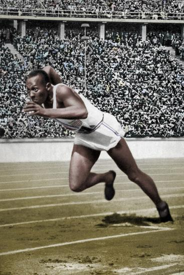 Jesse Owens at the start of the 200 metres at the Berlin Olympic Games, 1936-Unknown-Photographic Print