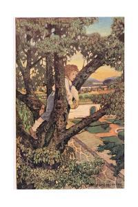 A Boy in a Tree, from 'A Child's Garden of Verses' by Robert Louis Stevenson, Published 1885 by Jessie Willcox-Smith