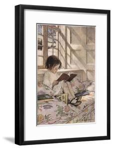 A Girl Reading, from 'A Child's Garden of Verses' by Robert Louis Stevenson, Published 1885 by Jessie Willcox-Smith