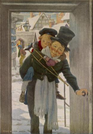 """Bob Cratchit with """"Tiny Tim"""" His Crippled Youngest Son by Jessie Willcox-Smith"""