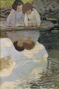 Children Looking at their Reflections, from 'A Child's Garden of Verses' by Robert Louis… by Jessie Willcox-Smith