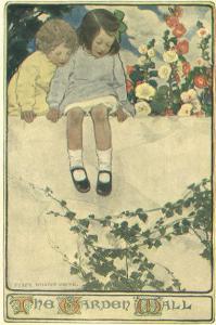 Two Girls Sitting on Garden Wall by Jessie Willcox-Smith