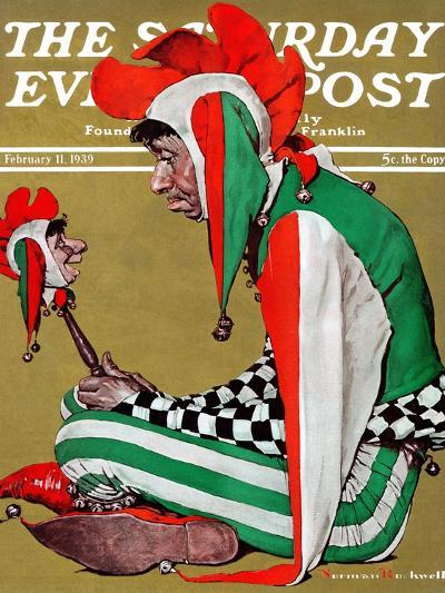 """""""Jester"""" Saturday Evening Post Cover, February 11,1939-Norman Rockwell-Giclee Print"""