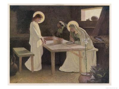 Jesus and His Parents at the Supper Table-Frank V. Du-Giclee Print