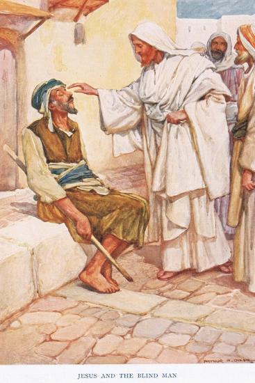 Jesus and the Blind Man-Arthur A^ Dixon-Giclee Print