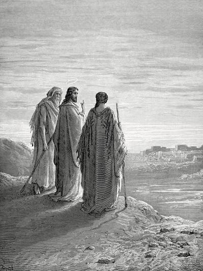 Jesus and the Disciples of Emmaus. Engraving. 19th Century.--Giclee Print