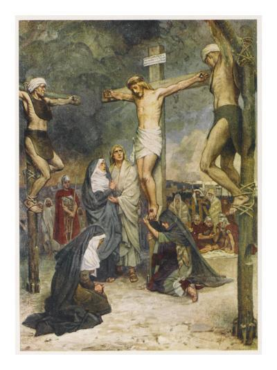 Jesus and Two Other Condemned Criminals on their Crosses--Giclee Print