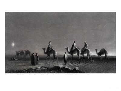 Jesus' Birth Magi Follow Star Across the Desert-R. Brandard-Giclee Print