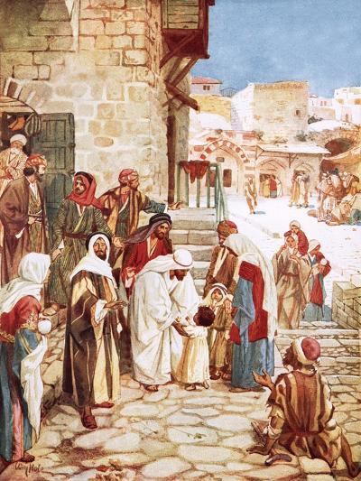 Jesus Blessing Little Children-William Brassey Hole-Giclee Print