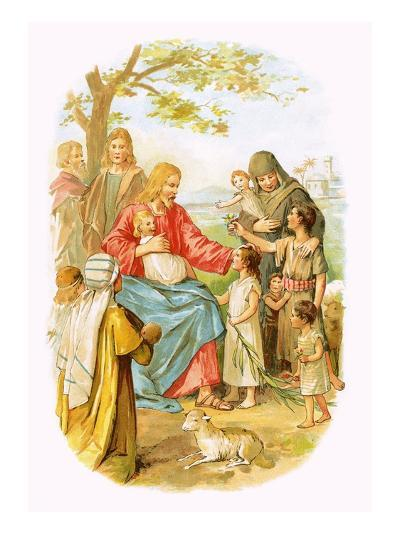 Jesus Blessing the Children-English-Giclee Print
