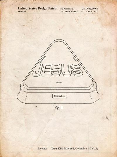 Jesus Button-Cole Borders-Art Print
