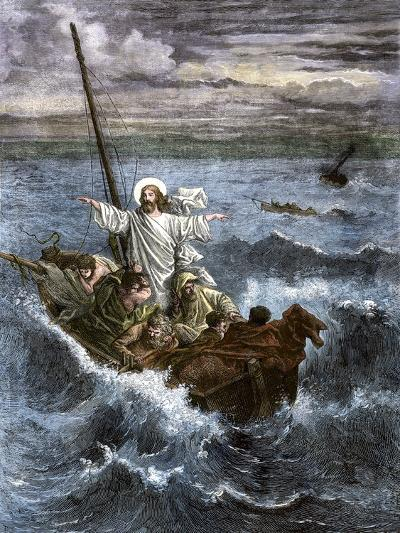 Jesus Calms the Waters Among Frightened Disciples in a Boat--Giclee Print