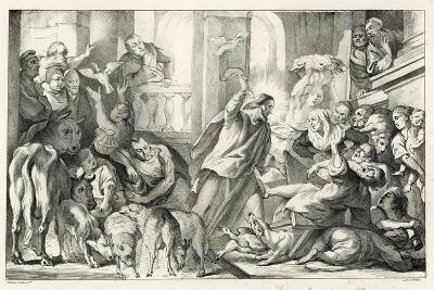 Jesus Casting the Moneylenders Out Ot the Temple-William Oliver-Giclee Print