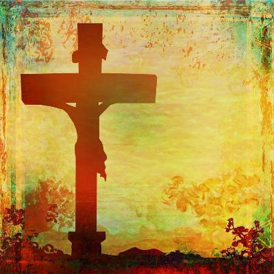 Jesus Christ Crucified, Grunge-JackyBrown-Art Print