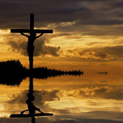 Jesus Christ Crucifixion on Good Friday Silhouette Reflected in Lake Water-Veneratio-Photographic Print