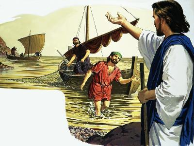 Jesus Christ with Fisherman-English School-Giclee Print