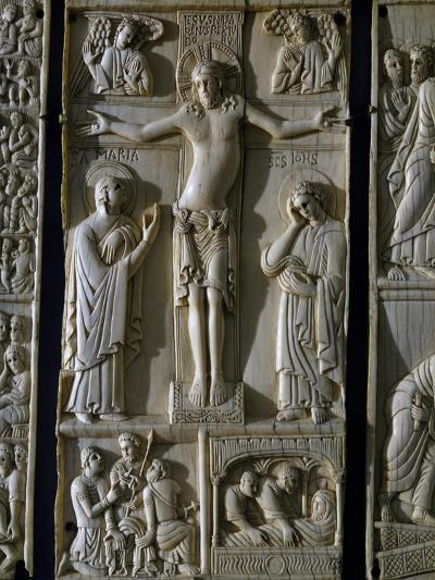 Jesus Crucified, Ivory Tablet, Part of Series Dedicated to Old and New Testament, Italy--Giclee Print
