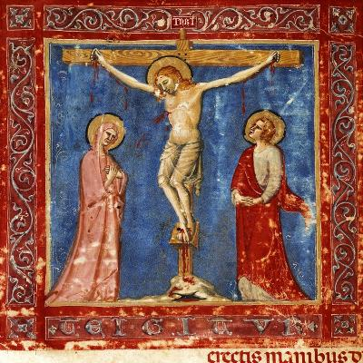 Jesus' Crucifixion, Miniature from the Missal of the Order of Friars Minor, Latin Manuscript--Giclee Print