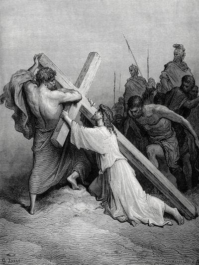 Jesus Fall under the Weight of the Cross--Giclee Print